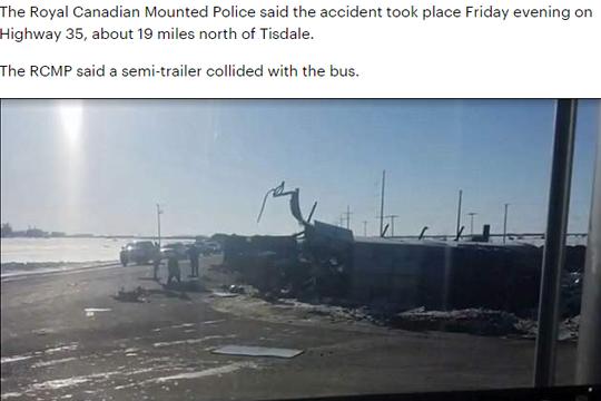 巴士卡车相撞,造成14人死亡3人重伤