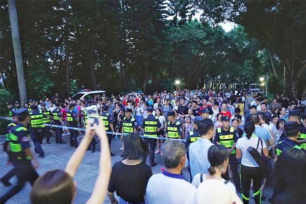 深圳灯光展调试,众多市民现场观看记录美好瞬间