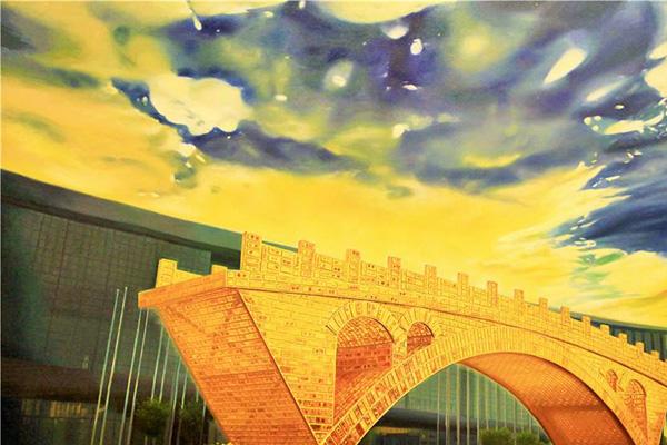 油画丝路金桥