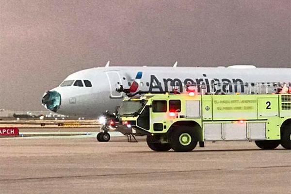 机头砸碎风挡被砸裂,所幸无人受伤
