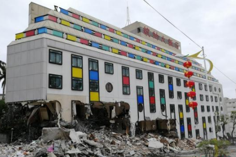 花莲拆除地震危楼,将保证安全的情况快速拆除