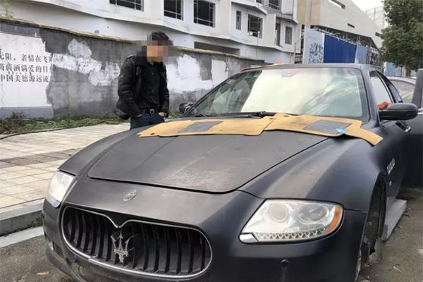 玛莎拉蒂剩空壳,车主绝望直接报警