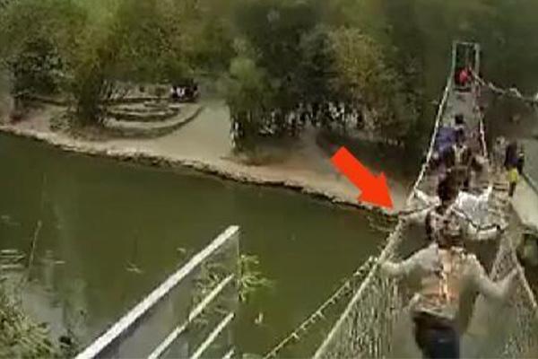 游客暴力摇桥致断裂,当事人确实这般说法