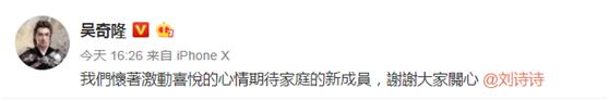吴奇隆刘诗诗宣布怀孕