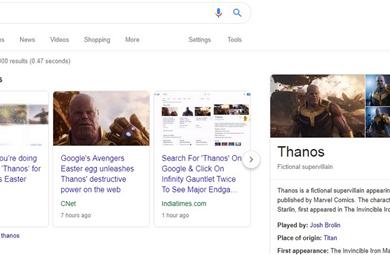 谷歌搜索灭霸彩蛋,点击无限手套搜索结果少一半