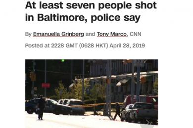 美国巴尔的摩发生枪击案,造成1人死亡6人受伤