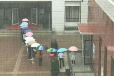 老师排队搭起伞廊,温暖教育令人感动